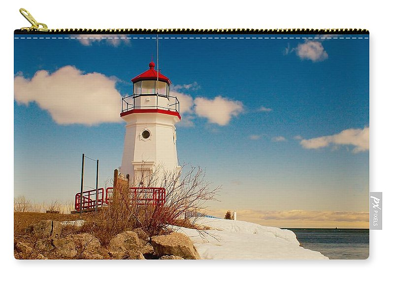 Cheboygan Carry-all Pouch featuring the photograph Snow At Cheboygan Crib by Nick Zelinsky