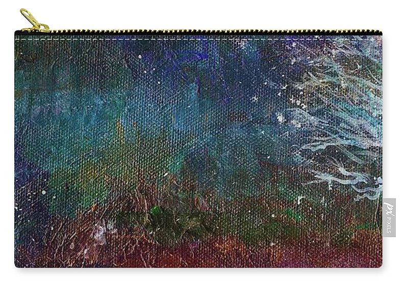 Landscape Carry-all Pouch featuring the painting Snow At Twilight by Mary Wolf