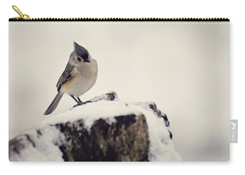 Tufted Titmouse Carry-all Pouch featuring the photograph Snow Bird by Heather Applegate
