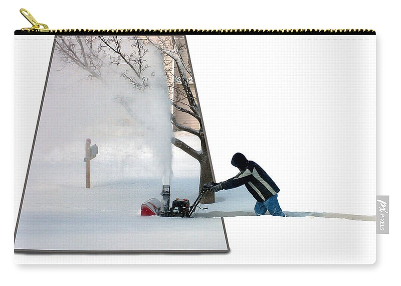 December Carry-all Pouch featuring the photograph Snow Blower by Thomas Woolworth