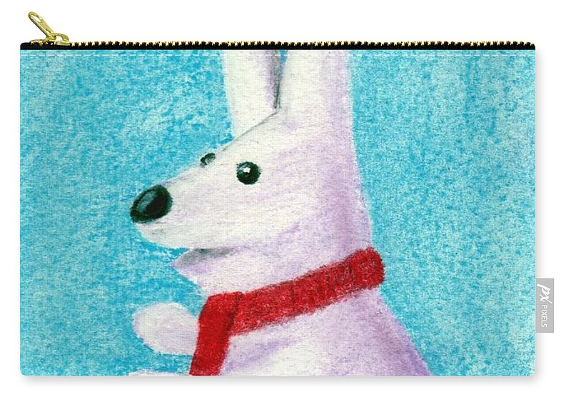 Snow Carry-all Pouch featuring the painting Snow Bunny by Anastasiya Malakhova
