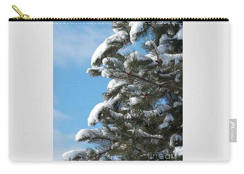 Snow Carry-all Pouch featuring the photograph Snow-clad Pine by Ann Horn