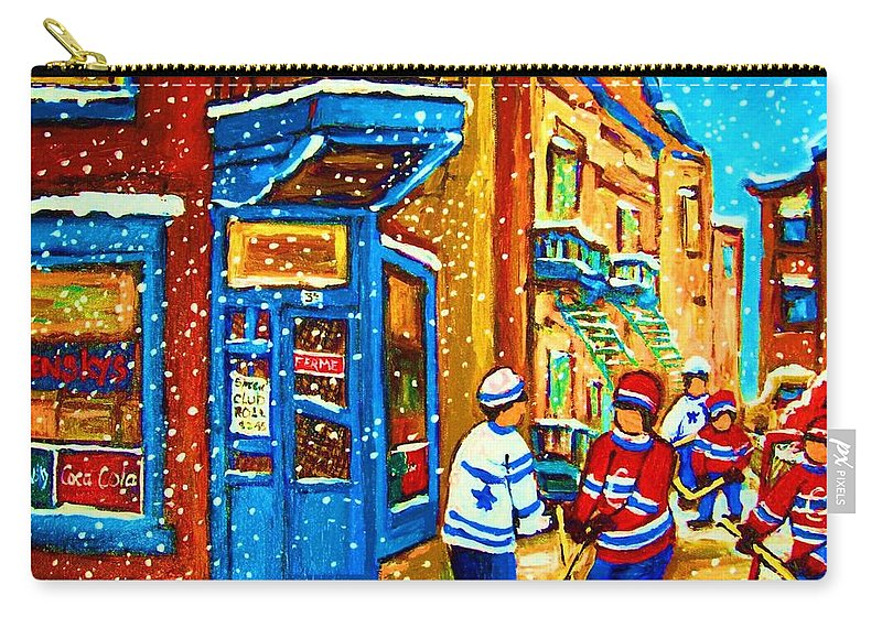 Wilenskys Carry-all Pouch featuring the painting Snow Falling On The Game by Carole Spandau