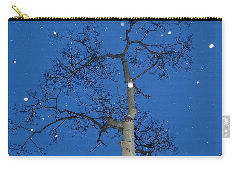 Snow Carry-all Pouch featuring the photograph Snow Falling Where The Leaves Used To Be Ethe by Brian Boyle