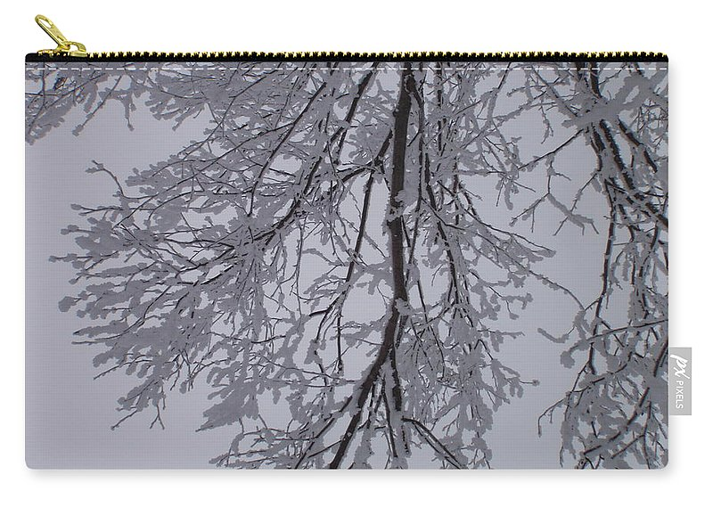 Snow Carry-all Pouch featuring the photograph Snow Frosted Branches by Malcolm Snook