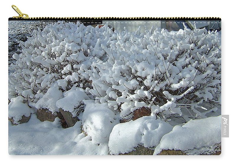 Wet Snow Carry-all Pouch featuring the photograph Snow Frosted Bush by Susan Wyman