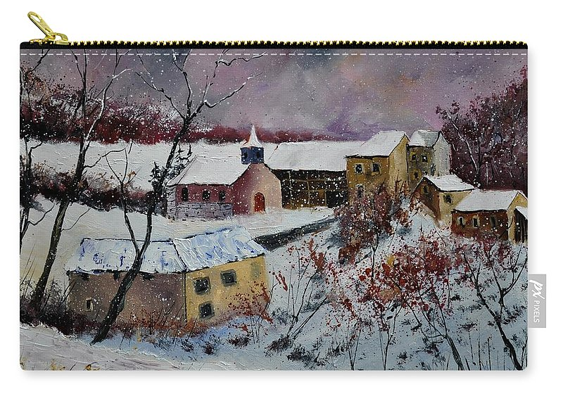 Landscape Carry-all Pouch featuring the painting Snow in Houroy 672131 by Pol Ledent