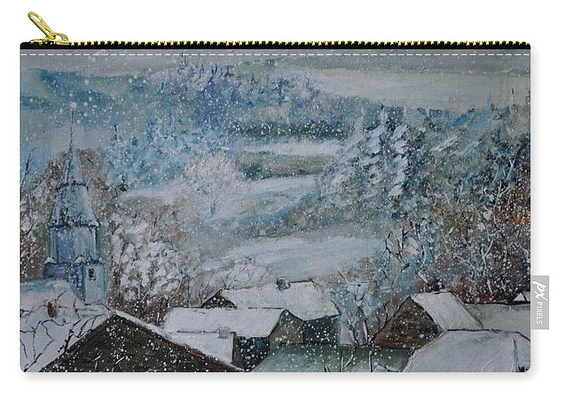 Landscape Carry-all Pouch featuring the painting Snow in Ouroy by Pol Ledent