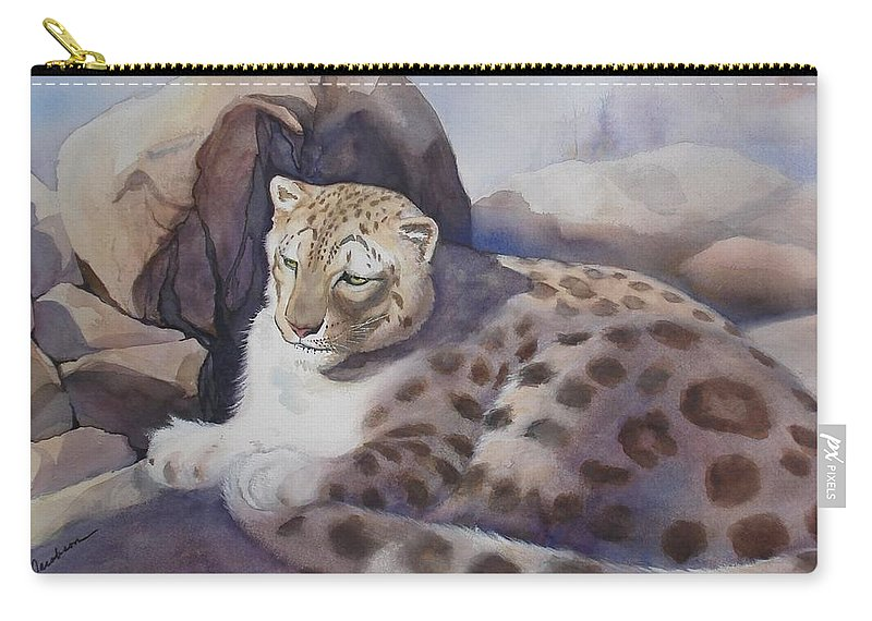 Snow Leopard Carry-all Pouch featuring the painting Snow Leopard by Marilyn Jacobson
