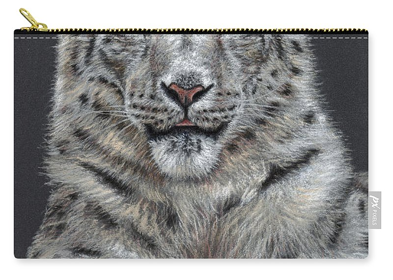 Snow Carry-all Pouch featuring the pastel Snow Leopard by Nicole Zeug