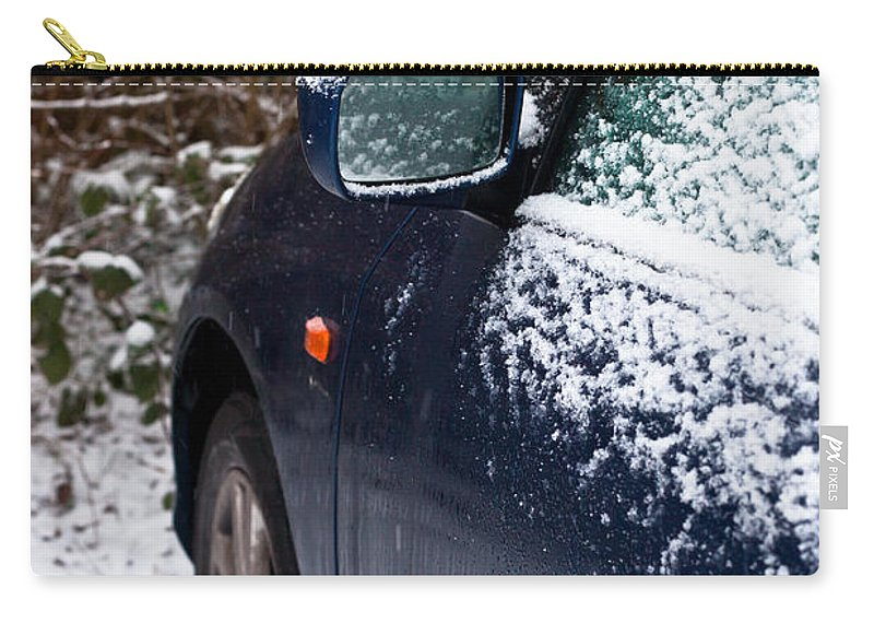 Auto Carry-all Pouch featuring the photograph Snow On Car by Tom Gowanlock