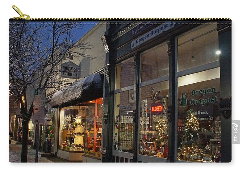 Snow Carry-all Pouch featuring the photograph Snow On G Street - Old Town Grants Pass by Mick Anderson