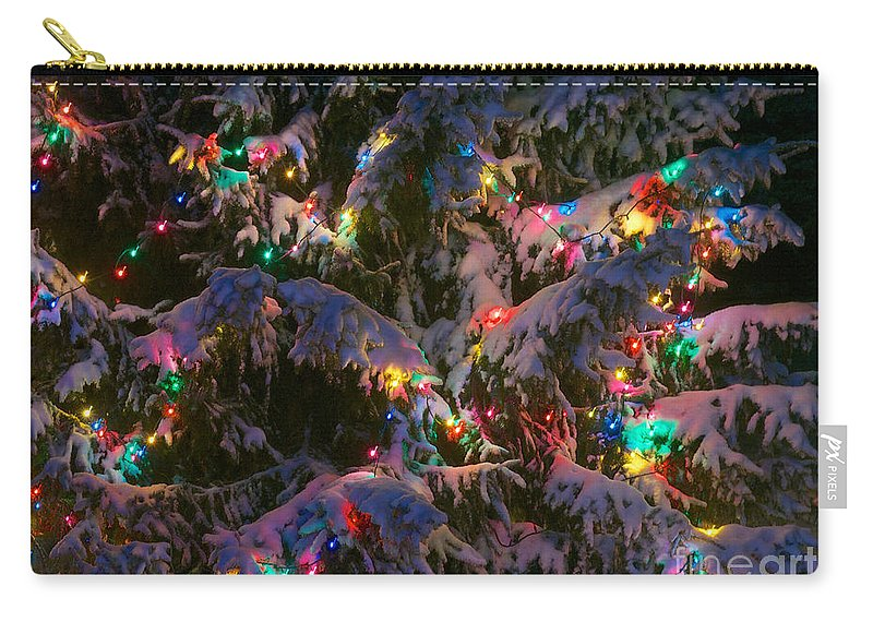 Christmas Carry-all Pouch featuring the photograph Snow On The Christmas Tree 1 by Mark Dodd