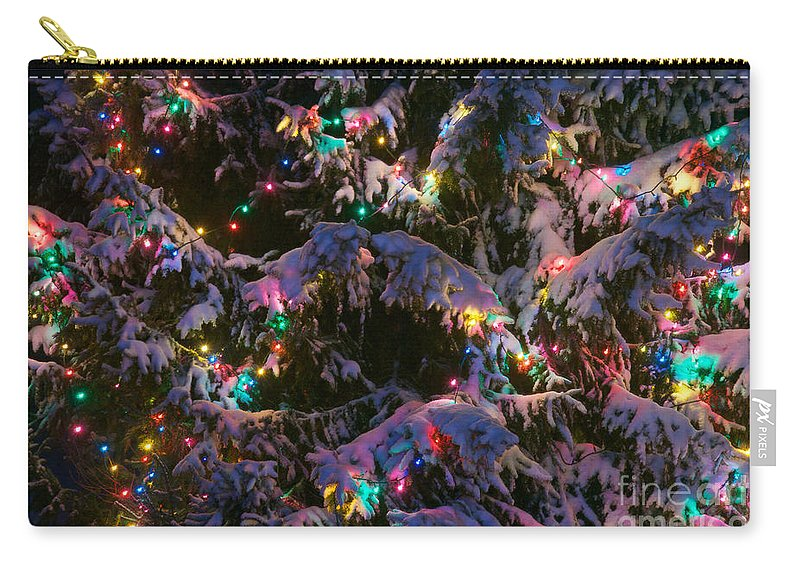 Christmas Carry-all Pouch featuring the photograph Snow On The Christmas Tree by Mark Dodd