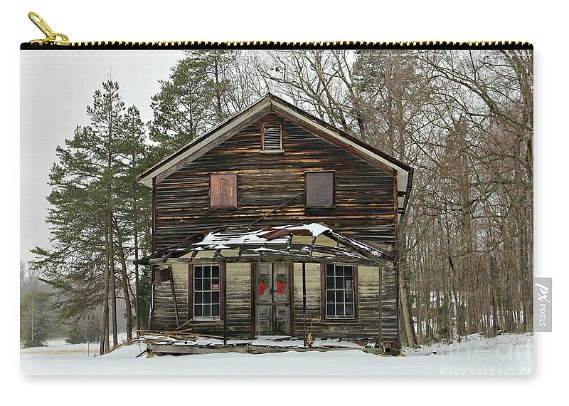 General Store Carry-all Pouch featuring the photograph Snow On The General Store by Benanne Stiens