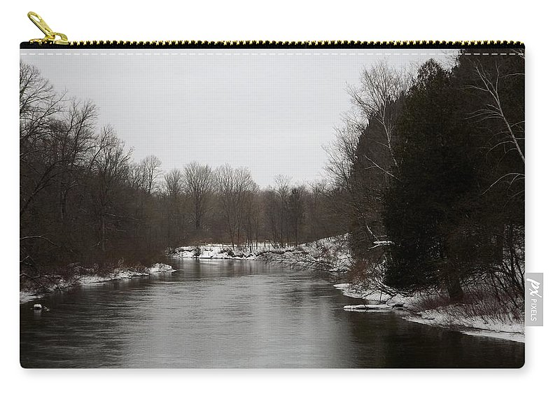 Manistee River Carry-all Pouch featuring the photograph Snow On The Manistee River by Linda Kerkau