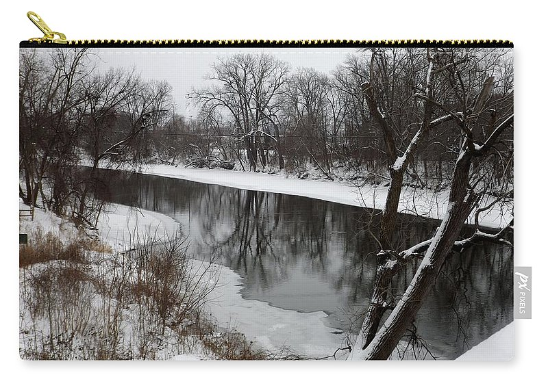 River Carry-all Pouch featuring the photograph Snow On The River by Linda Kerkau