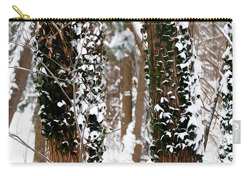 Snow Carry-all Pouch featuring the photograph Snow On Tress 2 by Tracy Winter