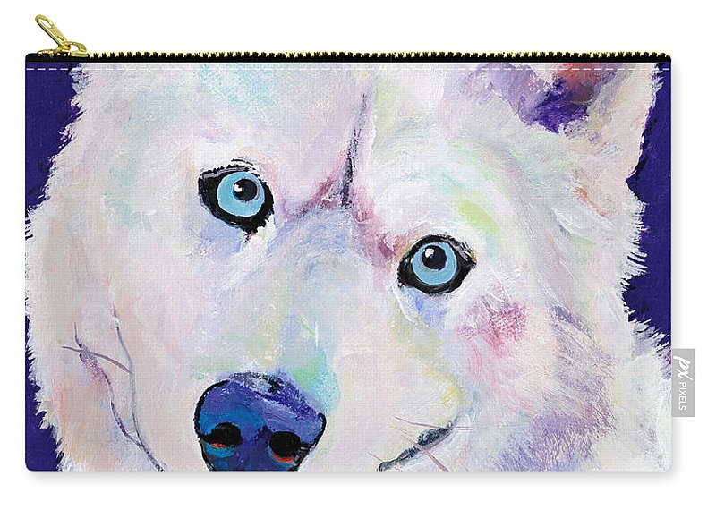 Look At Those Eyes! This Beautiful Husky Has Passed On And A Wife Commissioned Me To Do This Painting For Her Husband. Memorials Like This Make Me Appreciate The Devotion People Have For Their Dogs. Carry-all Pouch featuring the painting Snow by Pat Saunders-White