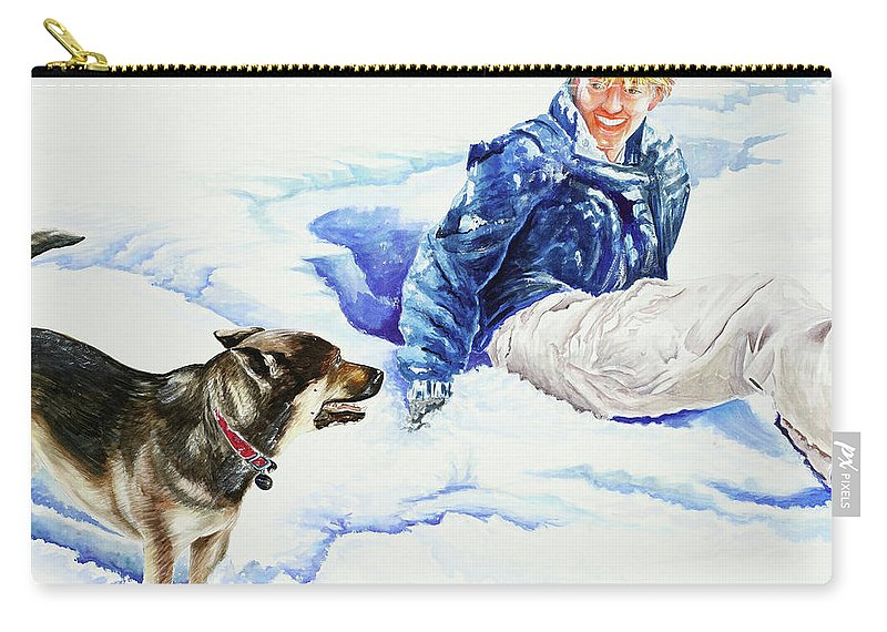 Snow Carry-all Pouch featuring the painting Snow Play Sadie And Andrew by Carolyn Coffey Wallace
