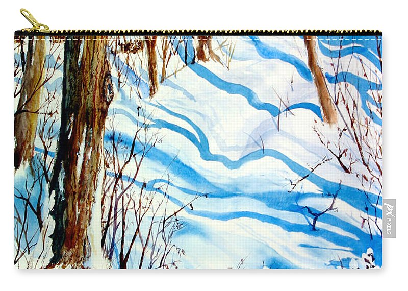 Carry-all Pouch featuring the painting Snow Shadows by Mohamed Hirji