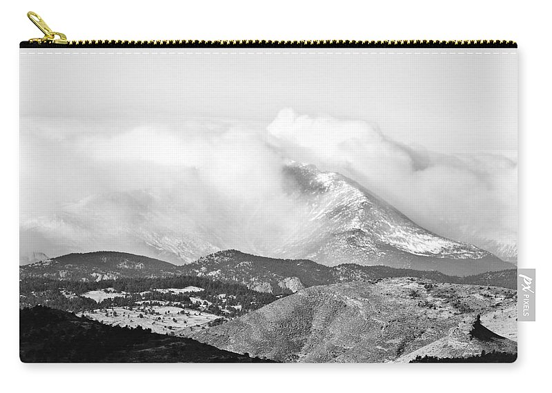 Colorado Carry-all Pouch featuring the photograph Snow Storm On The Twin Peaks Longs And Meeker by James BO Insogna