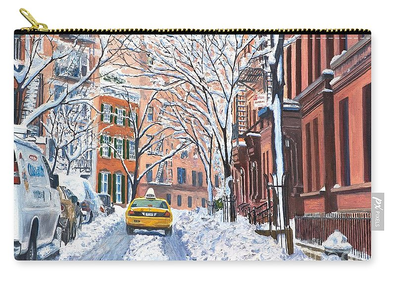 Snow Carry-all Pouch featuring the painting Snow West Village New York City by Anthony Butera