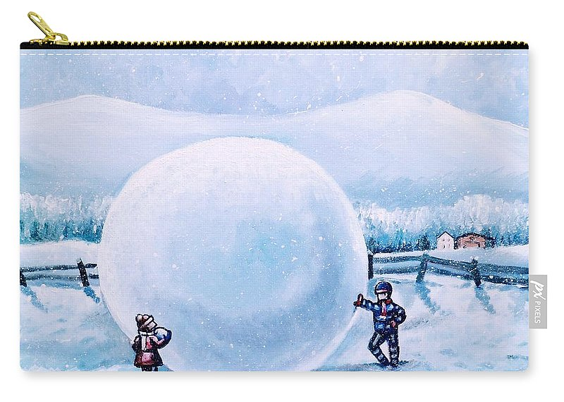 Snowball Fight Carry-all Pouch featuring the painting Snowball Fight by Shana Rowe Jackson