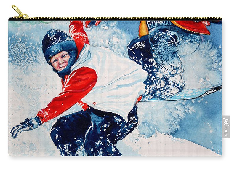 Kids Room Carry-all Pouch featuring the painting Snowboard Super Heroes by Hanne Lore Koehler