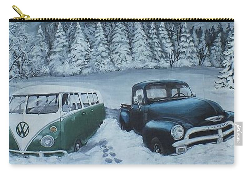Vehicles Carry-all Pouch featuring the painting Snowed In by Jeremy Reed