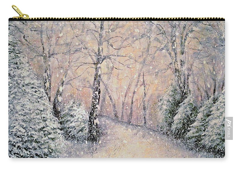 Snow Landscape Carry-all Pouch featuring the painting Snowflakes by Natalie Holland