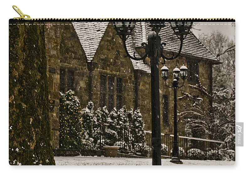 Stokesay Carry-all Pouch featuring the photograph Snowing At Stokesay Castle by Trish Tritz