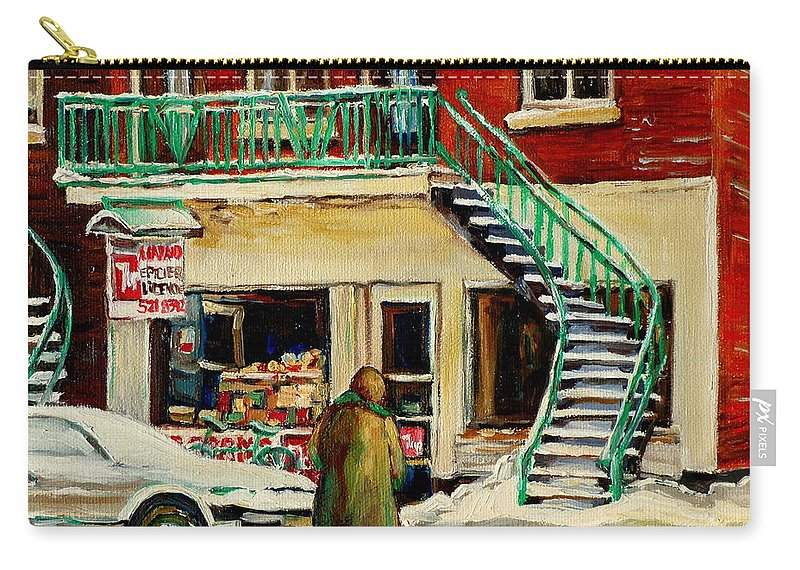 Montreal Carry-all Pouch featuring the painting Snowing At The Five And Dime by Carole Spandau