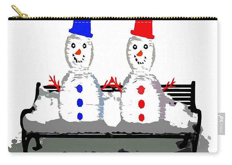 Irish Carry-all Pouch featuring the painting Snowman And Snowwoman Holding Hands by Patrick J Murphy