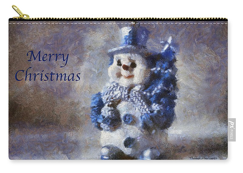 Winter Carry-all Pouch featuring the photograph Snowman Merry Christmas Photo Art 02 by Thomas Woolworth