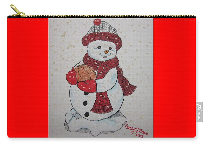 Snowman Carry-all Pouch featuring the painting Snowman Playing Basketball by Kathy Marrs Chandler