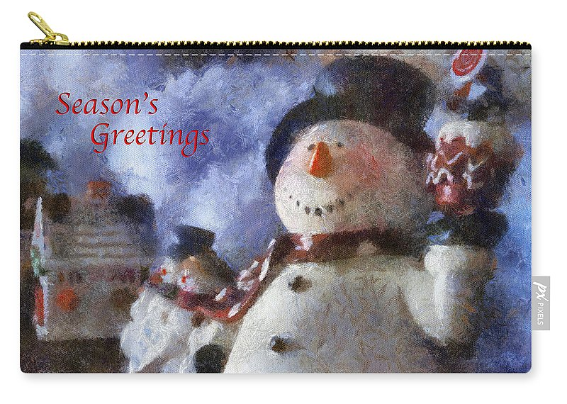 Winter Carry-all Pouch featuring the photograph Snowman Season Greetings Photo Art 01 by Thomas Woolworth