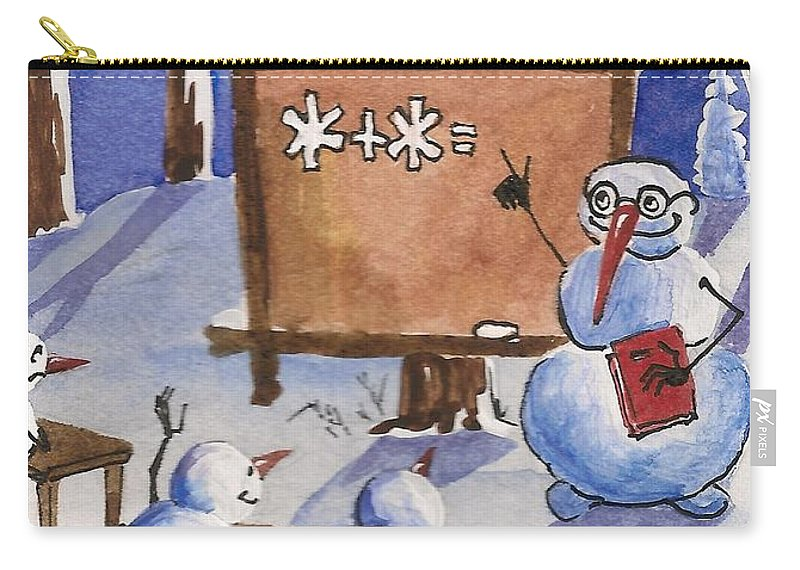 Painting Carry-all Pouch featuring the painting Snowman University by Margaryta Yermolayeva