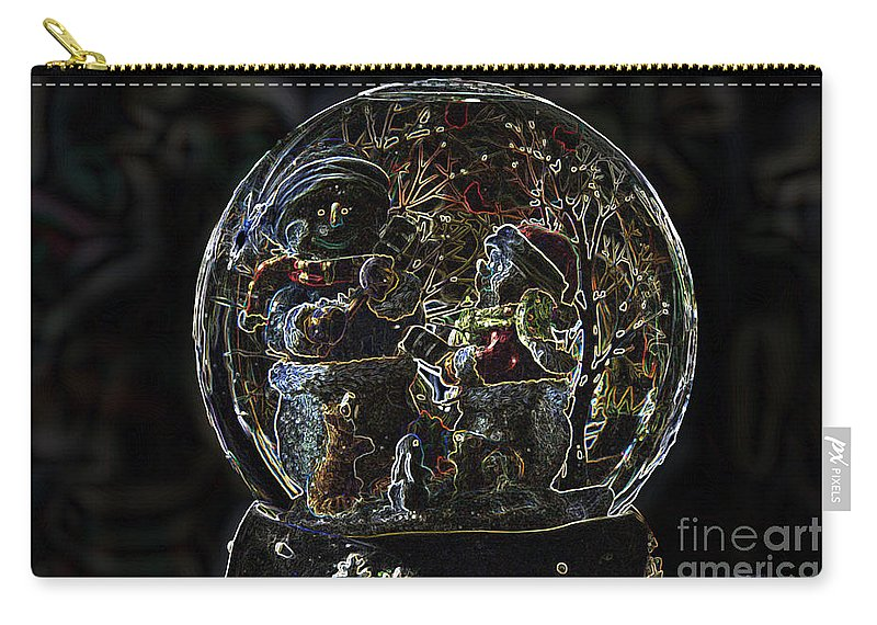 Snowmen Carry-all Pouch featuring the photograph Snowmen Neon Water Globe by Thomas Woolworth