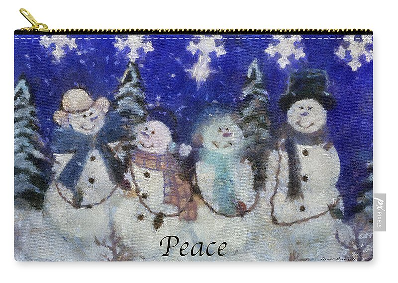 Winter Carry-all Pouch featuring the photograph Snowmen Peace Photo Art by Thomas Woolworth