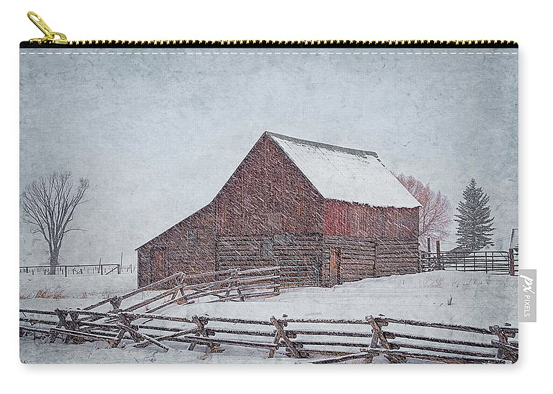 Barn Carry-all Pouch featuring the photograph Snowstorm At The Ranch 2 by Priscilla Burgers