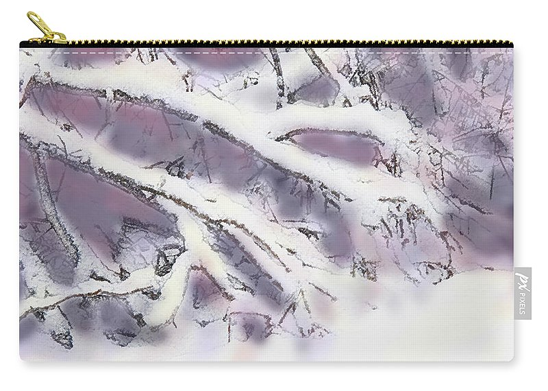 Winter Carry-all Pouch featuring the digital art Snowtract by Ian MacDonald