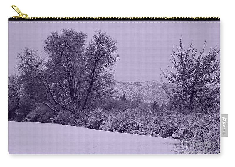 Winter Carry-all Pouch featuring the photograph Snowy Bench In Purple by Carol Groenen