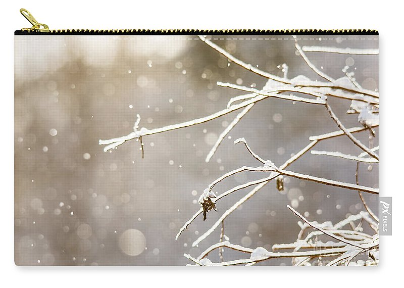 Carry-all Pouch featuring the photograph Snowy Branches by Cheryl Baxter