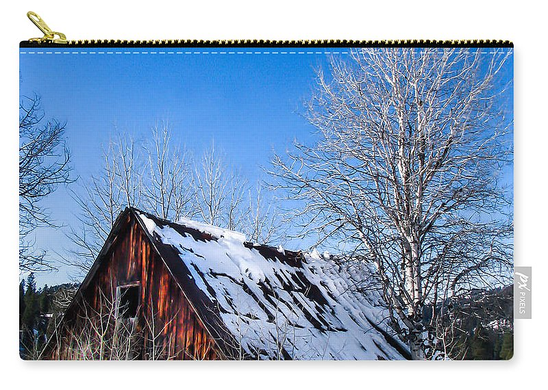 Cabin Carry-all Pouch featuring the photograph Snowy Cabin by Robert Bales