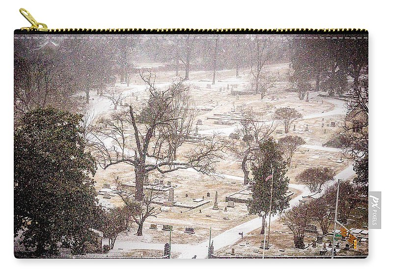 Historic Oak Hill Cemetery Carry-all Pouch featuring the photograph Snowy Cemetery by Tracy Brock