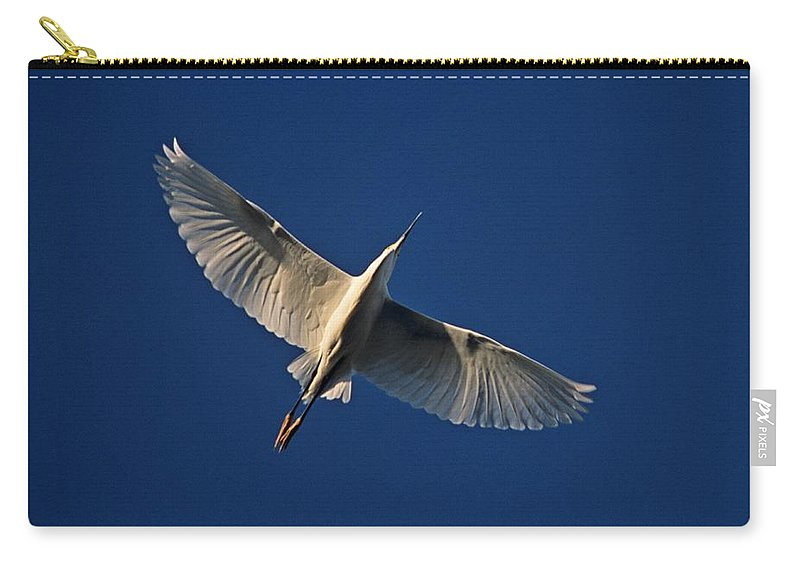Bird Carry-all Pouch featuring the photograph Snowy Egret In Flight by John Harmon