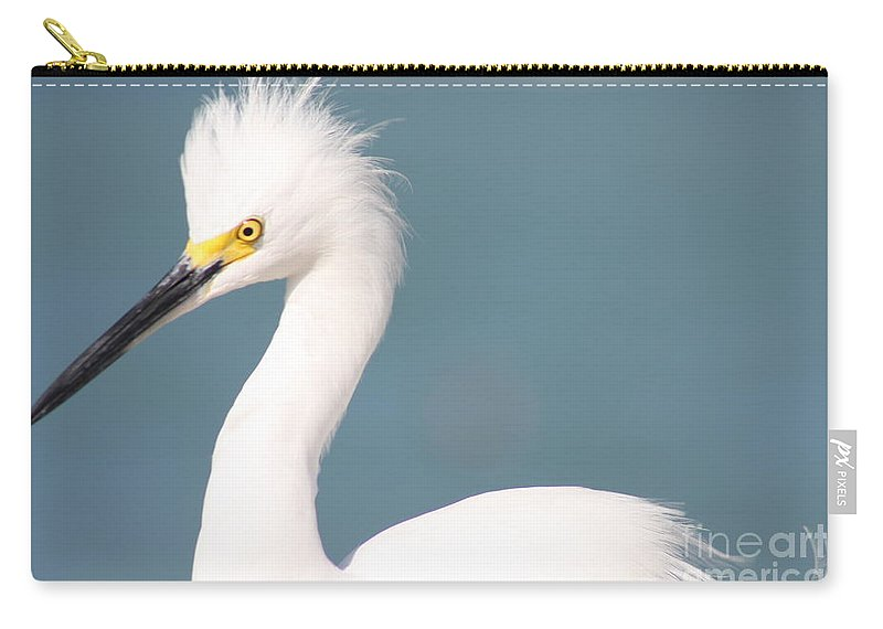 Snowy Egret Carry-all Pouch featuring the photograph Snowy Egret Portrait by Christiane Schulze Art And Photography