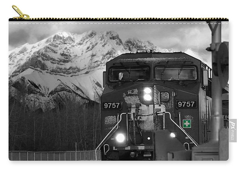 Rocky Mountains Carry-all Pouch featuring the photograph Snowy Engine Through The Rockies by Lisa Knechtel