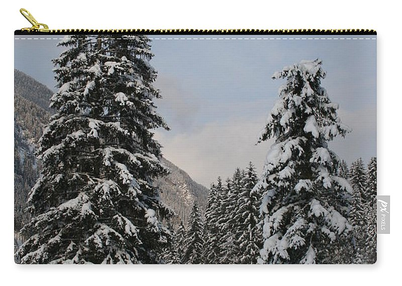 Snow Carry-all Pouch featuring the photograph Snowy Fir Trees by Christiane Schulze Art And Photography